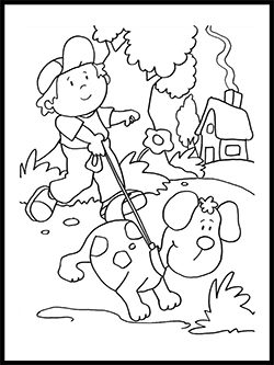 Child & Puppy Coloring Template thumbnail